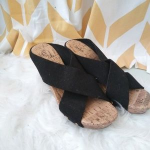 A.N.A size 9 black strap gold studded cork wedges